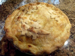 "This is a ""fall"" Apple Pork Pie.  if folks are celebrating an anniversary I put hearts on it.!"