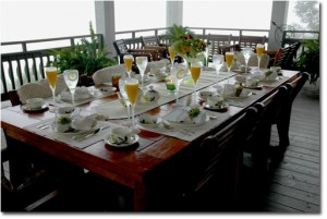 The fourth place to eat breakfast is the upper veranda.  This table setting is using Grandma's Dixie Dogwood.   She got a piece for free every time she went to the movies!