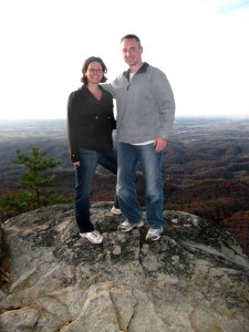 Keri and Tim Meeker on an ATV break at the top of Bluff Mountain in Pigeon Forge, Tennessee