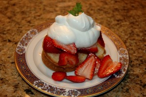 Orange Cream Cheese Pound Cake with Strawberries and Whipped Cream