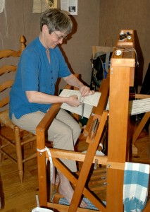 Sue Mason Finishing Off a Weaving Project