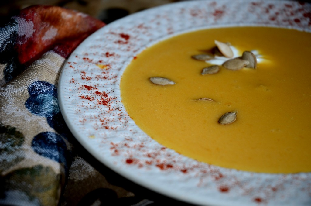 Pumpkin Winter Squash Soup with Toasted Pumpkin Seeds