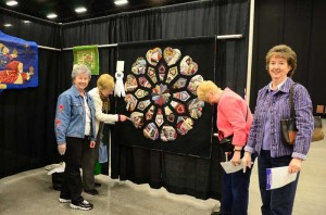 Enjoying the show, from the left Phyllis Vlasaty of the Tellico Village Quilt Guild, Sue Ann Tippitt, Shirley Connors and Vickie Mueller