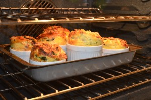 Ham Spinach Gruyere Bread Pudding in individual ramekins.  Can also be made in a 9X13 Pyrex dish.