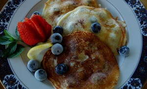 Lemon, Goat Cheese, Blueberry Pancakes