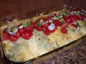 Cheese Enchiladas in Spinach Wraps