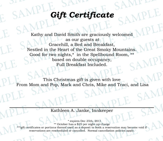 Gift Certificates  Gracehill Bed And Breakfast  Gracehill Bed And