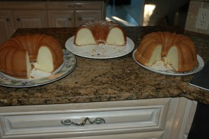 From left to right- Elvis Presley's Favorite Pound Cake, Paula Deen's, and Joy of Baking Orange Cream Cheese Pound Cake