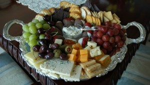 Assorted Cheeses, Fruit, Crackers, Chocolate Dipped Strawberries Appetizer Tray