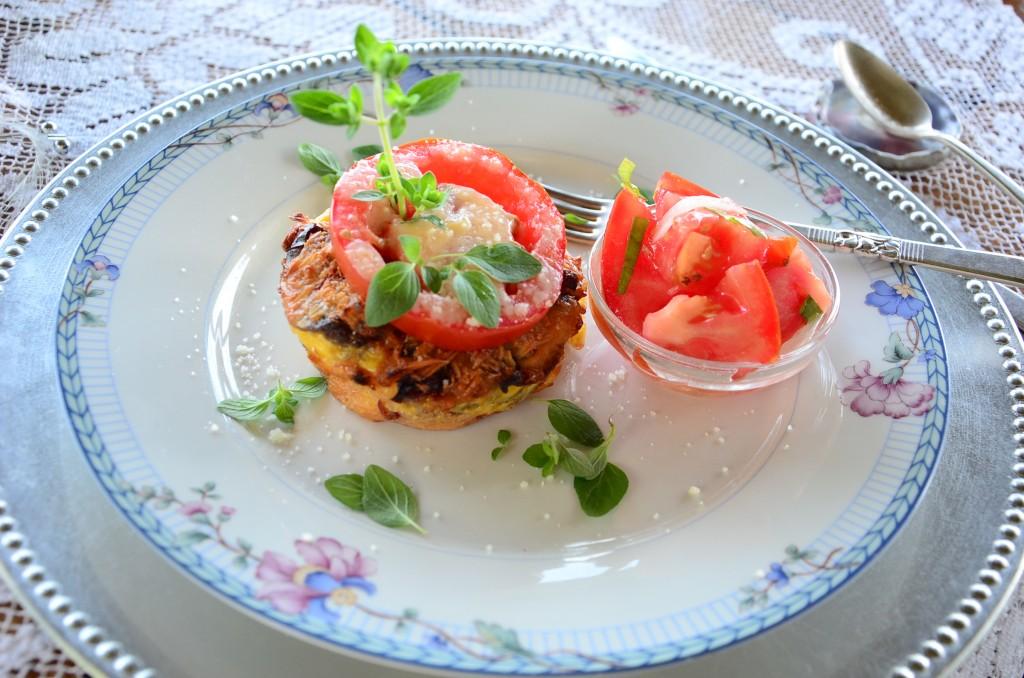 Individual Ramekin of the Sausage Mushroom Tomato Strata