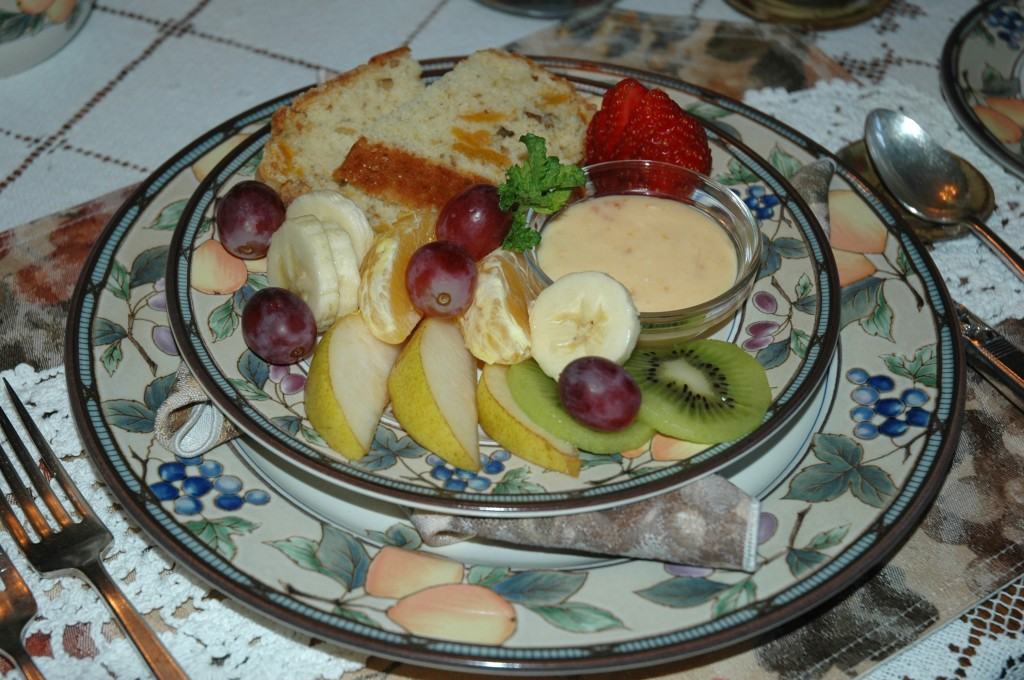 Apricot Fruit Dip with Award Winning Apricot Walnut Bread
