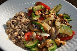 Vegan Stir Fry with Quinoa & Brown Rice and Black Chia Seeds