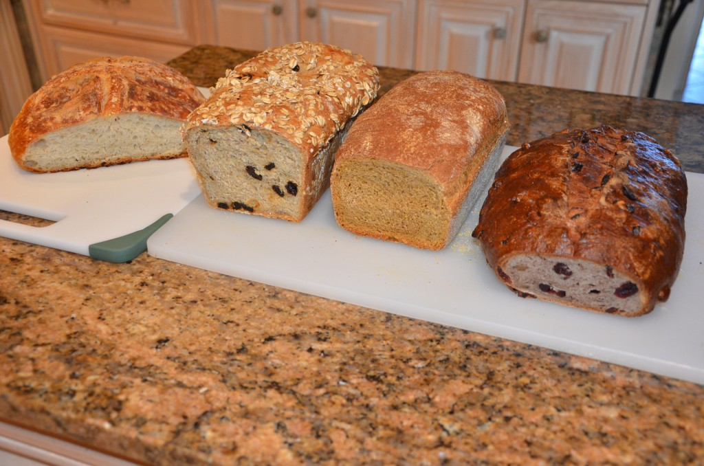 From the left, rustic country bread, raisen oatmeal, molasses cornmeal and cranberry walnut